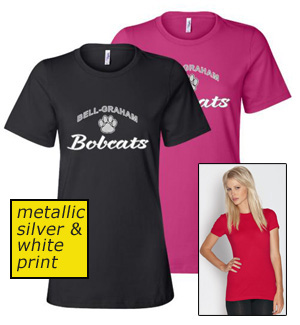 ladies metallic print short sleeve tee
