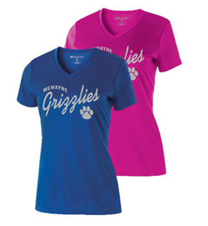 Girls and Ladies Silver Print Performance Tee