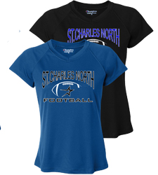 North Star Football 2016 Ladies Royal or Black Performance Vee Neck Short Sleeve Tee with Screen Print art