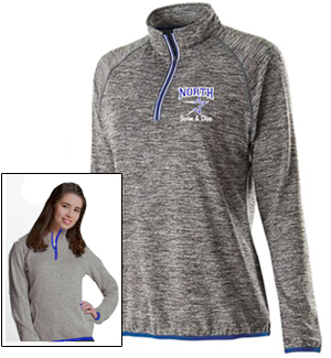 Ladies Grey Performance Zip Top