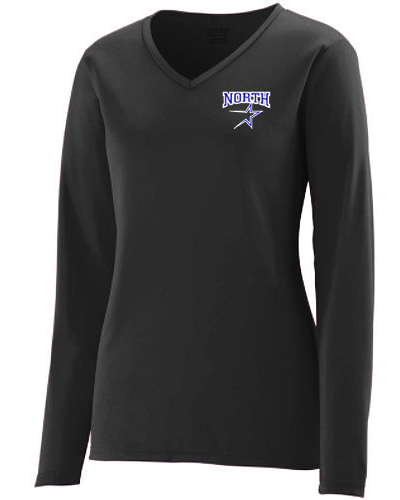 ladies long sleeve performance vee neck tee