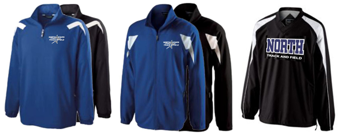 This lightweight jacket resists both wind and water -- perfect for Track &  Field season! Embroidered team logo.