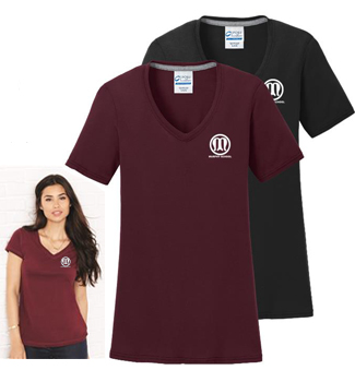 Ladies short sleeve vee neck tee