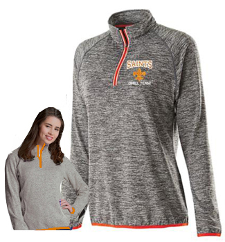 Ladies Grey zip performance top