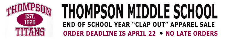 "Thompson Middle School Year End ""Clap Out"" sale"